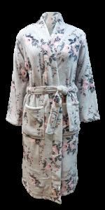 2 LS 3405 100% polyester grey floral flannel fleece 280gsm_kimono long robe